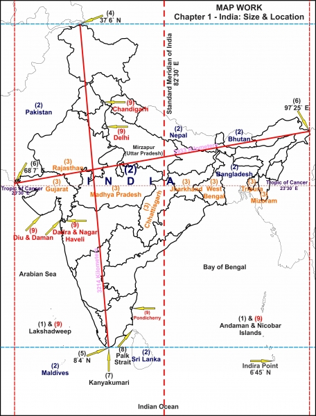 india map with latitude and longitude Geography Of India An Introduction Civilsdaily india map with latitude and longitude