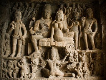 Image result for ellora ravana shaking the kailash